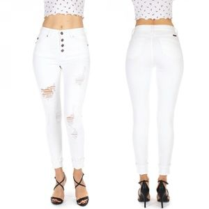 NWT KanCan Jeans White Button Fly Cuffed Skinny